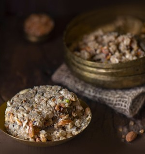 Aatho (fudgy concoction of dried fruits, nuts, spices, seeds for nursing mothers)